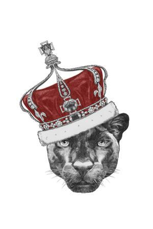 Portrait of Panther with Crown. Hand Drawn Illustration. by victoria_novak