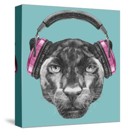 Portrait of Panther with Headphones. Hand Drawn Illustration.