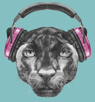 Portrait of Panther with Headphones. Hand Drawn Illustration. by victoria_novak