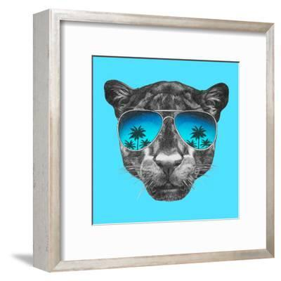 Portrait of Panther with Mirror Sunglasses. Hand Drawn Illustration.