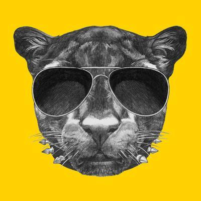 Portrait of Panther with Sunglasses and Collar. Hand Drawn Illustration.