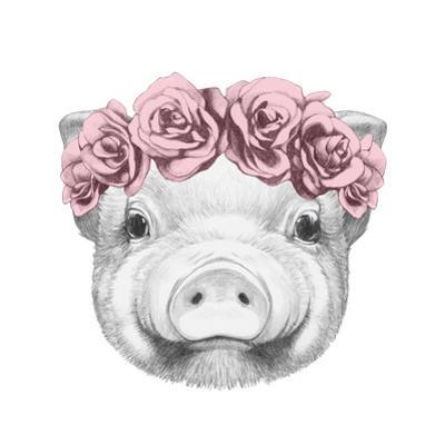 Portrait of Piggy with Floral Head Wreath. Hand Drawn Illustration. by victoria_novak