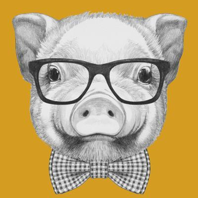 Portrait of Piggy with Glasses and Bow Tie. Hand Drawn Illustration. by victoria_novak