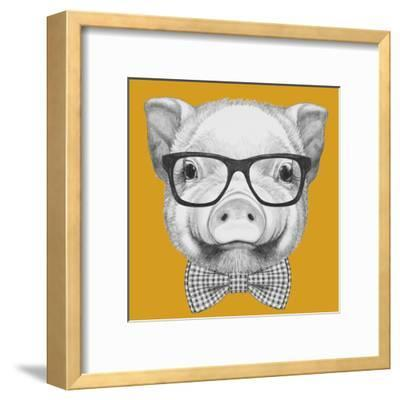 Portrait of Piggy with Glasses and Bow Tie. Hand Drawn Illustration.