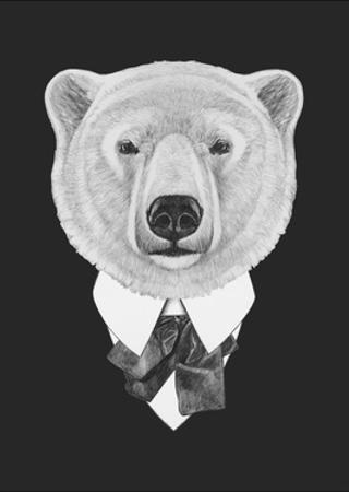 Portrait of Polar Bear in Suit. Hand Drawn Illustration. by victoria_novak