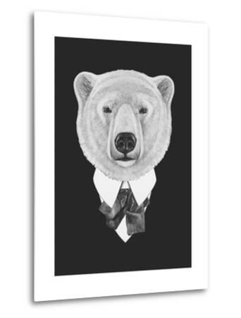 Portrait of Polar Bear in Suit. Hand Drawn Illustration.