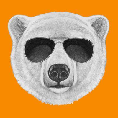 Portrait of Polar Bear with Sunglasses. Hand Drawn Illustration. by victoria_novak