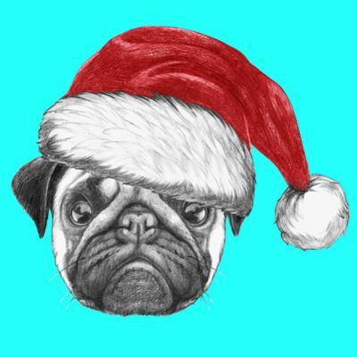 Portrait of Pug Dog with Santa Hat. Hand Drawn Illustration. by victoria_novak