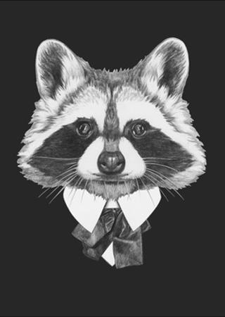 Portrait of Raccoon in Suit. Hand Drawn Illustration. by victoria_novak