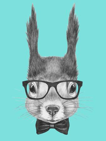 Portrait of Squirrel with Glasses and Bow Tie . Hand Drawn Illustration.