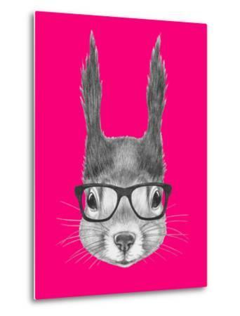 Portrait of Squirrel with Glasses. Hand Drawn Illustration.