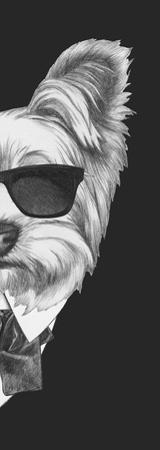 Portrait of Yorkshire Terrier Dog in Suit. Hand Drawn Illustration. by victoria_novak