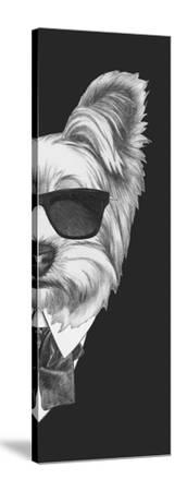 Portrait of Yorkshire Terrier Dog in Suit. Hand Drawn Illustration.