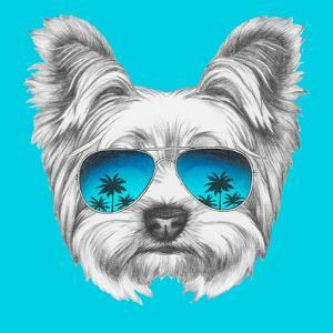 9a7b140d5c9 Portrait of Yorkshire Terrier Dog with Mirror Sunglasses. Hand Drawn  Illustration.