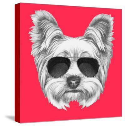 Portrait of Yorkshire Terrier Dog with Sunglasses. Hand Drawn Illustration.