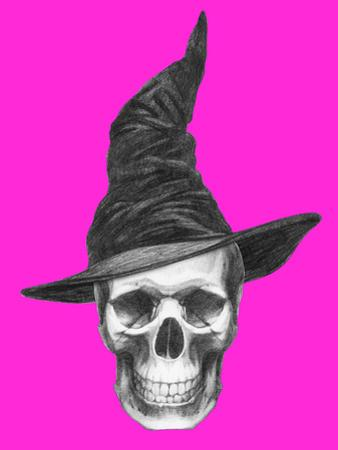 Scull with Witch Hat. Halloween Illustration