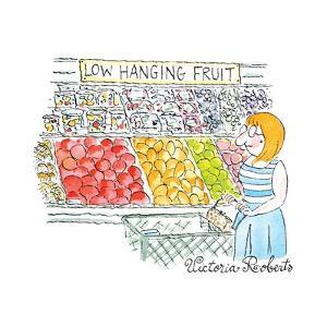 "A Woman shops down the vegetable aisle of a grocery store.  A sign says: ""... - New Yorker Cartoon by Victoria Roberts"