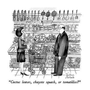 """Cactus leaves, chayote squash or tomatillos?"" - New Yorker Cartoon by Victoria Roberts"