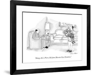 """""""Honey, this is Pierre. He's from Masseurs Sans Forntières."""" - New Yorker Cartoon by Victoria Roberts"""
