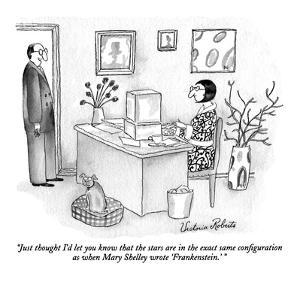 """Just thought I'd let you know that the stars are in the exact same config?"" - New Yorker Cartoon by Victoria Roberts"
