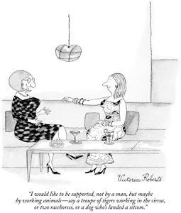 One woman talking to another. - New Yorker Cartoon by Victoria Roberts