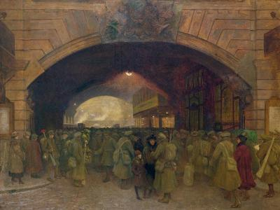 Victoria Station, Troops Leaving for the Front-Walter Bayes-Giclee Print