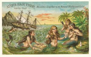 Victorian Advertisement for Hair Tonic, Mermaids