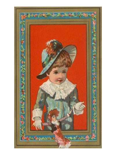 Victorian Boy in Frame with Doll--Art Print