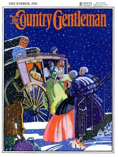 """Victorian Christmas Scene,"" Country Gentleman Cover, December 1, 1931- Kraske-Giclee Print"
