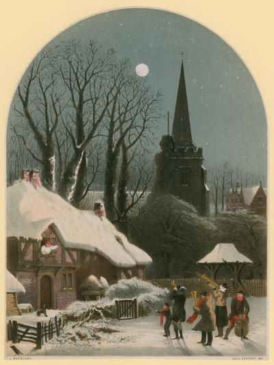 Victorian Christmas Scene with Band Playing in the Snow-John Brandard-Giclee Print