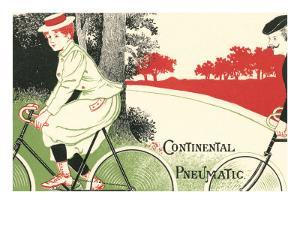 Victorian Drawing of Woman on Bicycle