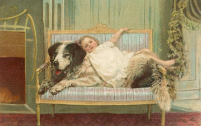 Victorian Girl Lying on St. Bernard on Couch