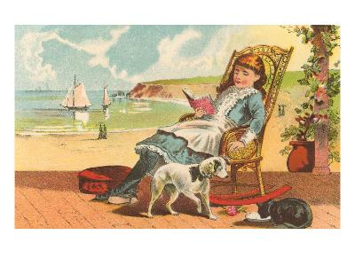 Victorian Girl Reading by Seashore--Art Print