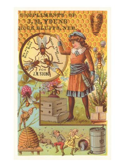 Victorian Girl with Bees and Hives--Art Print