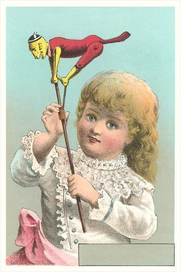Victorian Girl with Puppet--Art Print