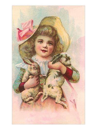Victorian Girl with Rabbits--Art Print
