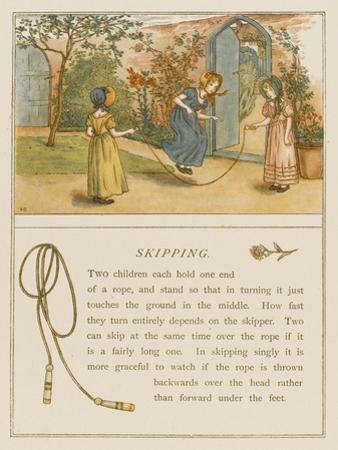 Victorian Girls in Bonnets Skipping