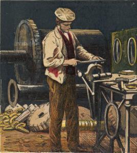 Victorian Metalworker Machining a Part in His Workshop