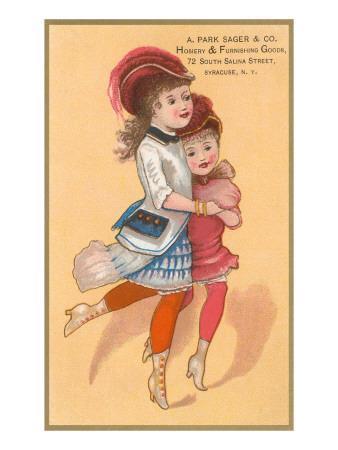 Victorian Sisters Dancing--Art Print