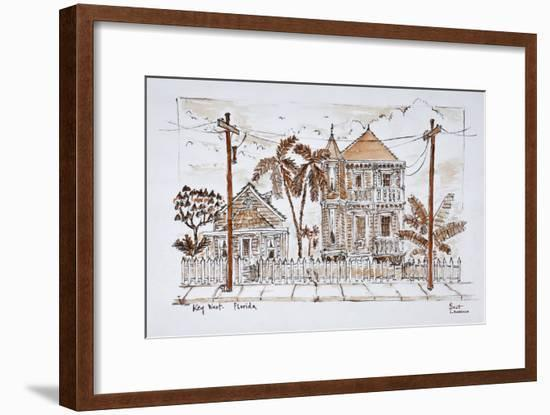 Victorian style 'Conch houses,' Key West, Florida-Richard Lawrence-Framed Photographic Print