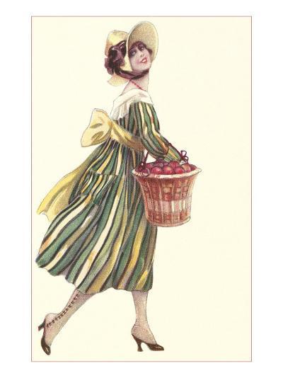Victorian Woman in Stripped Dress Basket of Apples--Art Print