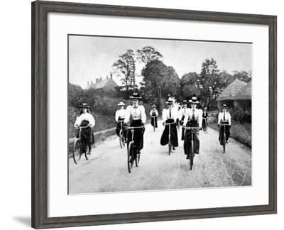 Victorian Women Cyclists Descending a Hill, 1898--Framed Photographic Print