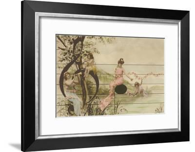Victorians Seated on Musical Staff and Clef--Framed Art Print