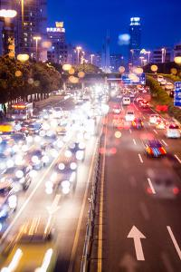 Double Exposure of Night Traffic Scene by victorn
