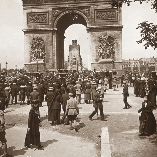Victory celebration, civilians at the Arc de Triomphe, Paris, France, July 1919-Unknown-Photographic Print