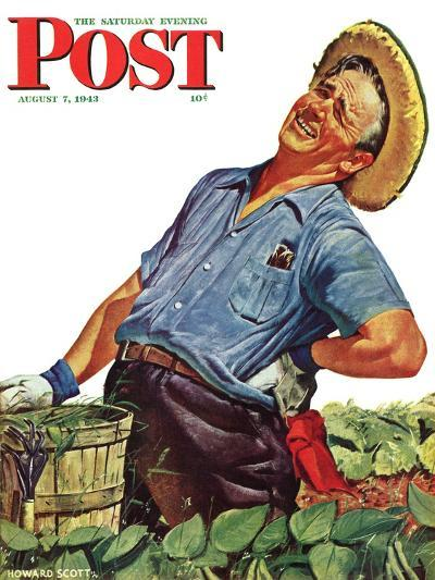 """""""Victory Garden,"""" Saturday Evening Post Cover, August 7, 1943-Howard Scott-Giclee Print"""