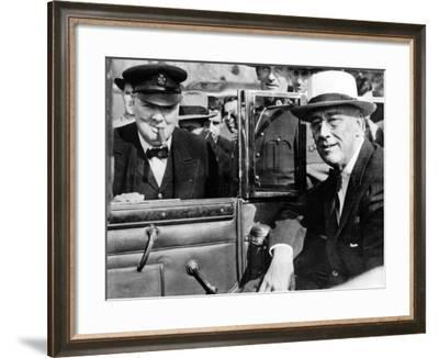 'Victory Is Everywhere,' Said Winston Churchill as He Greeted President Franklin Roosevelt--Framed Photo