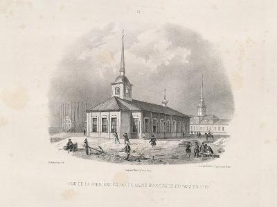 Vief of the First First St. Isaac's Church in 1710, 1845-Auguste de Montferrand-Giclee Print