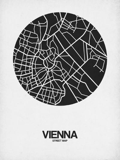 Vienna Street Map Black on White-NaxArt-Art Print