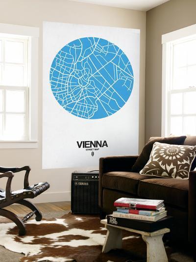 Vienna Street Map Blue-NaxArt-Wall Mural